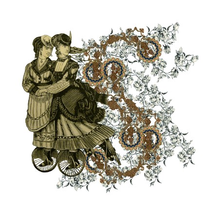 Luxuriously illustrated old capital letter S with flowers and two woman on roller scates. photo