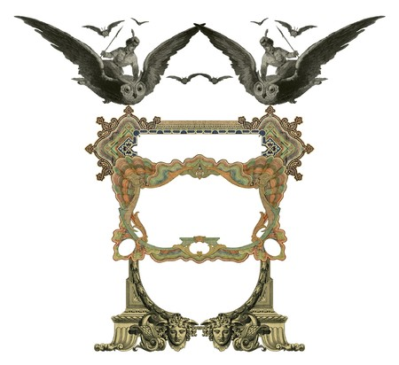Luxuusly color illustrated old victorian frame with a girl flying to the Owl. Stock Photo - 7033265