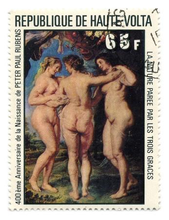 Republic of Upper Volta - CIRCA 1977: A stamp printed in Republic of Upper Volta shows paint by Sir Peter Paul Rubens circa 1977. Stock Photo - 7076873