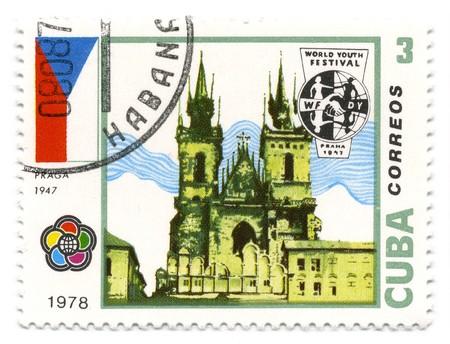 praga: CUBA - CIRCA 1978: A stamp printed in CUBA shows image of the Building in Praga circa 1978.