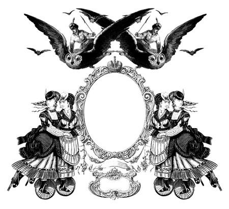 Luxueusement couleur illustré ancien cadre victorienne avec une fille en battant de la chouette.