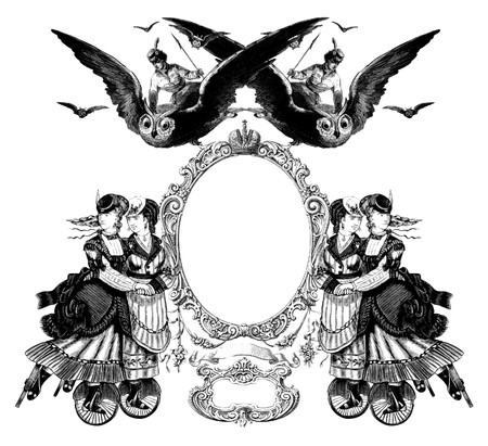 skate: Luxuriously color illustrated old victorian frame with a girl flying to the Owl.