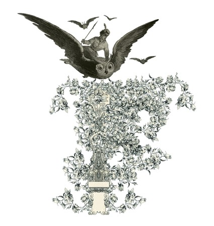 luxuriously: Luxuriously illustrated old capital letter F with flowers and girl flying to the owl.