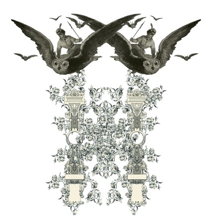 luxuriously: Luxuriously illustrated old capital letter H with flowers and girl flying to the owl.