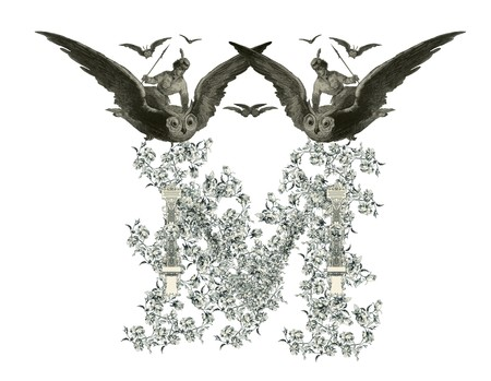 Luxuriously illustrated old capital letter M with flowers and girl flying to the owl. photo