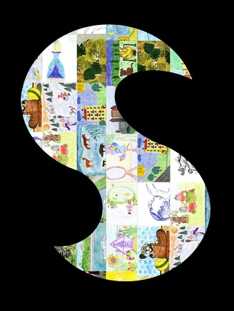 The letter S from childrens drawings. photo