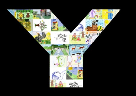 The letter Y from childrens drawings. photo