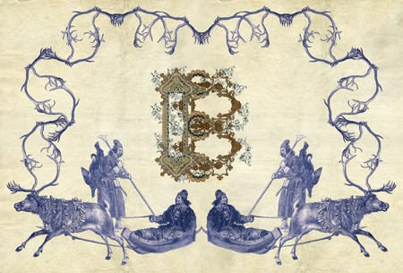 Luxuriously illustrated old capital letter B with four hunters and two deer. photo