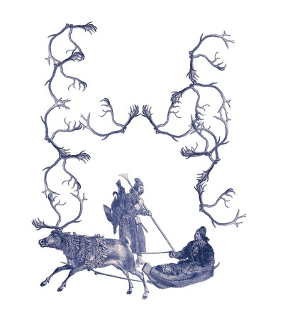 Luxuriously illustrated old capital letter H made from deer antlers and two hunters. Stock Photo - 7279875