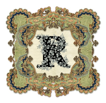 luxuriously: Luxuriously illustrated old capital letter R.