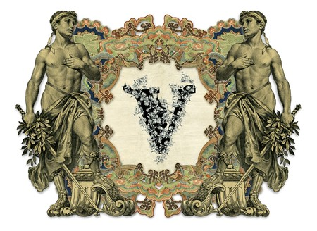 luxuriously: Luxuriously illustrated old capital letter V with man.