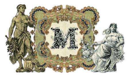 Luxuriously illustrated old capital letter M with man and woman. Stock Photo - 7325099