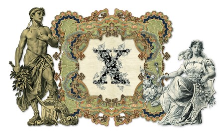 luxuriously: Luxuriously illustrated old capital letter X with man and woman.