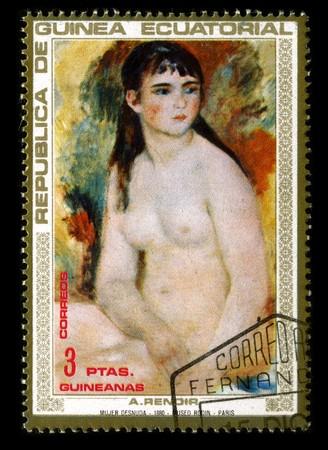REPUBLICA DE GUINEA ECUATORIAL - CIRCA 1973: A stamp printed in REPUBLICA DE GUINEA ECUATORIAL shows paint by Pierre-Auguste Renoir circa 1973. Stock Photo - 7358076