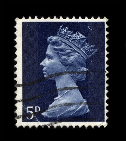 UNITED KINGDOM - CIRCA 1973: An English Used First Class Postage Stamp showing Portrait of Queen Elizabeth in dark blue circa 1973. Stock Photo - 7358090