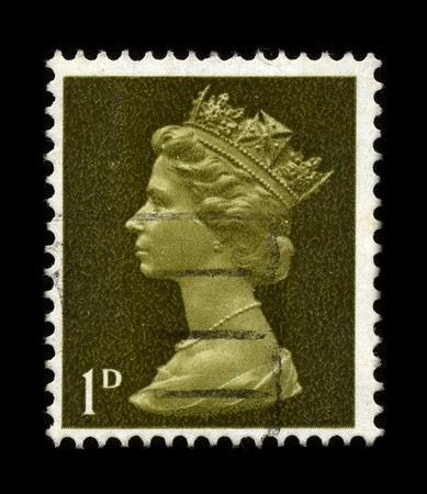 UNITED KINGDOM - CIRCA 1973: An English Used First Class Postage Stamp showing Portrait of Queen Elizabeth in gold circa 1973. Stock Photo - 7358091