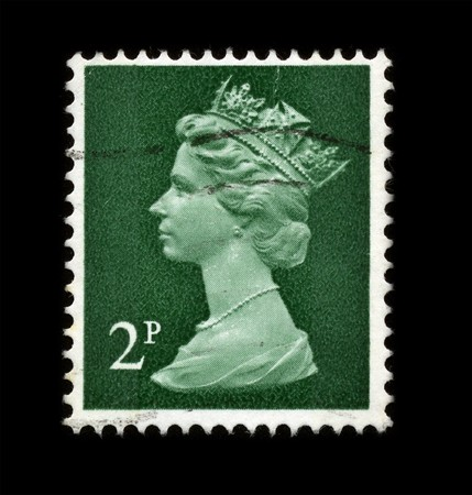 UNITED KINGDOM - CIRCA 1973: An English Used First Class Postage Stamp showing Portrait of Queen Elizabeth in green circa 1973. Stock Photo - 7358092