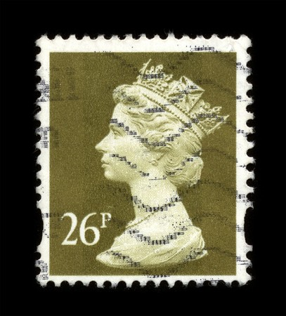 UNITED KINGDOM - CIRCA 1973: An English Used First Class Postage Stamp showing Portrait of Queen Elizabeth in light gold circa 1973. Stock Photo - 7358093