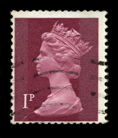 UNITED KINGDOM - CIRCA 1997: An English Used First Class Postage Stamp showing Portrait of Queen Elizabeth in burgundi circa 1997. Stock Photo - 7358098