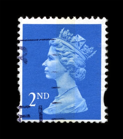 UNITED KINGDOM - CIRCA 1997: An English Used First Class Postage Stamp showing Portrait of Queen Elizabeth in blue circa 1997.