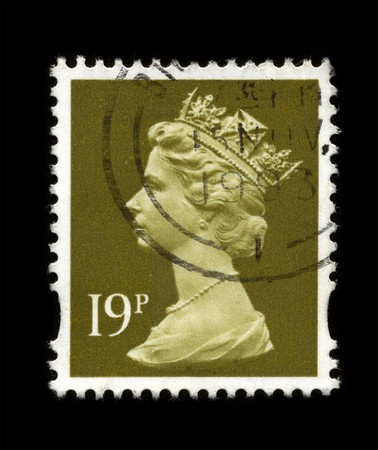 UNITED KINGDOM - CIRCA 1993: An English Used First Class Postage Stamp showing Portrait of Queen Elizabeth in gold circa 1993. Stock Photo - 7358102