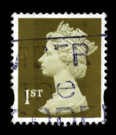 UNITED KINGDOM - CIRCA 1993: An English Used First Class Postage Stamp showing Portrait of Queen Elizabeth in light gold circa 1993. Stock Photo - 7358103