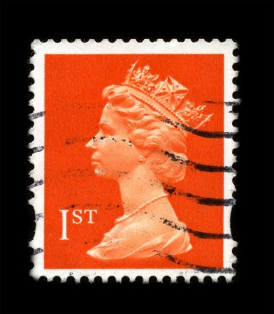 UNITED KINGDOM - CIRCA 1989: An English Used First Class Postage Stamp showing Portrait of Queen Elizabeth in red circa 1989.