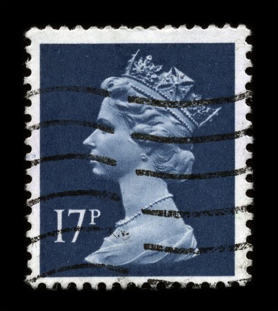 UNITED KINGDOM - CIRCA 1989: An English Used First Class Postage Stamp showing Portrait of Queen Elizabeth in dark blue circa 1989.