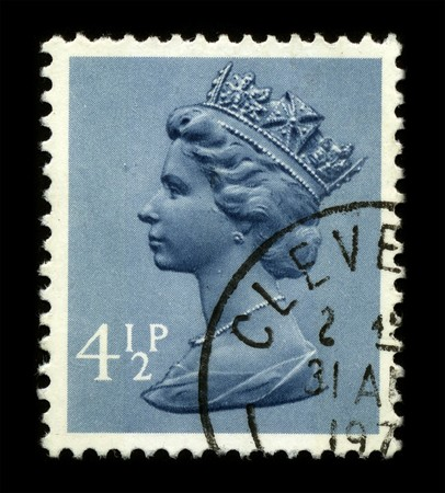 UNITED KINGDOM - CIRCA 1973: An English Used First Class Postage Stamp showing Portrait of Queen Elizabeth in blue circa 1973.
