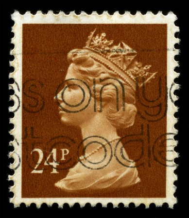 UNITED KINGDOM - CIRCA 1973: An English Used First Class Postage Stamp showing Portrait of Queen Elizabeth in brown circa 1973. Stock Photo - 7427927