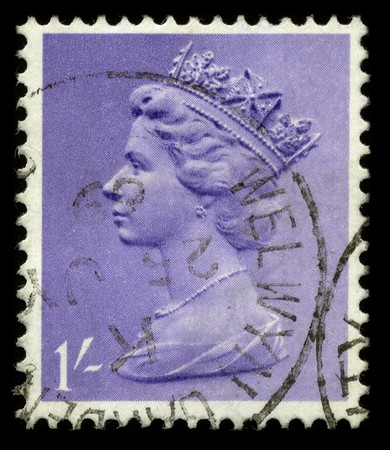 queen elizabeth: UNITED KINGDOM - CIRCA 1969: An English Used First Class Postage Stamp showing Portrait of Queen Elizabeth in lilac circa 1969. Editorial