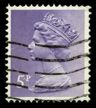 UNITED KINGDOM - CIRCA 1973: An English Used First Class Postage Stamp showing Portrait of Queen Elizabeth in lilac circa 1973.