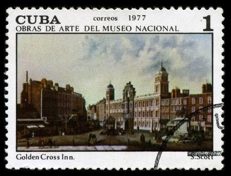 CUBA - CIRCA 1977: A stamp printed in CUBA shows paint by S. Scott Golden Cross Inn circa 1977.