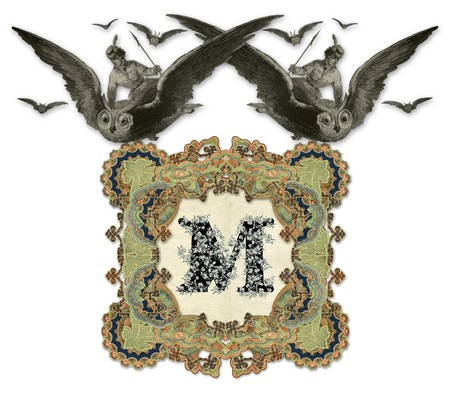 Luxuriously illustrated old capital letter M with two girl flying to the two owl. photo