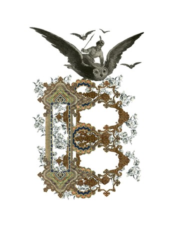 luxuriously: Luxuriously illustrated old capital letter B with flowers and girl flying to the owl. Stock Photo