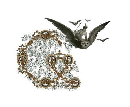 Luxuriously illustrated old capital letter G with flowers and girl flying to the owl. photo