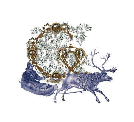Luxuriously illustrated old capital letter G with deer and hunter. photo