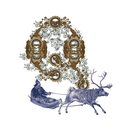 Luxuriously illustrated old capital letter Q with deer and hunter. photo