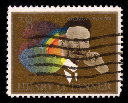 usps: USA - CIRCA 1950: A stamp printed in USA shows Portrait American Painter Henry O Tanner circa 1950. Editorial
