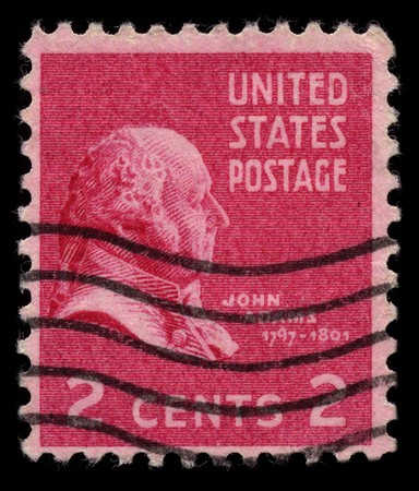 usps: USA - CIRCA 1930: A stamp printed in USA shows Portrait President John Adams  circa 1930.