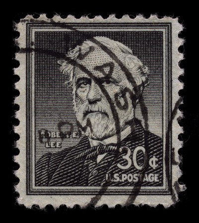 usps: USA - CIRCA 1930: A stamp printed in USA shows Portrait General Robert Edward Lee circa 1930.