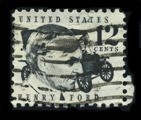 usps: USA - CIRCA 1930: A stamp printed in USA shows Portrait Henry Ford circa 1930. Editorial