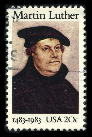 usps: USA - CIRCA 1983: A stamp printed in USA shows Portrait Martin Luther circa 1983. Editorial