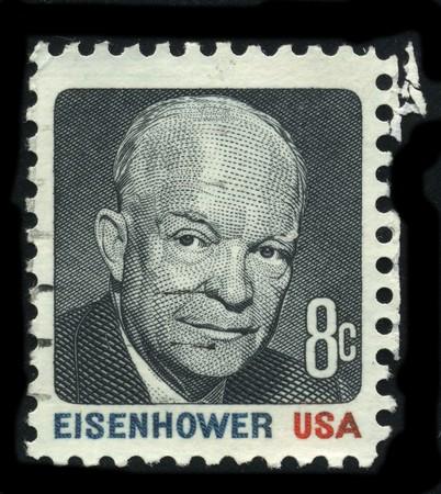 usps: USA - CIRCA 1930: A stamp printed in USA shows Portrait President Dwight  David Eisenhower circa 1930. Editorial