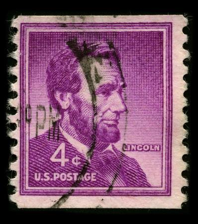 usps: USA - CIRCA 1930: A stamp printed in USA shows Portrait President Abraham Lincoln circa 1930.