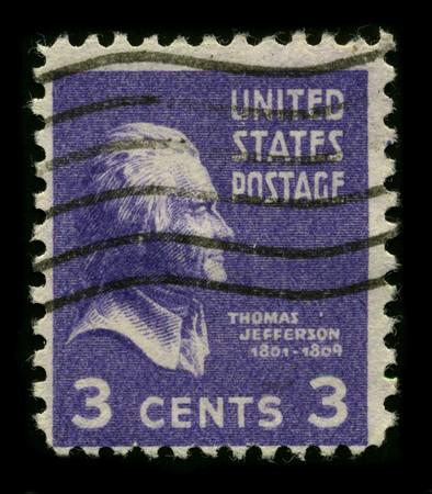 USA - CIRCA 1930: A stamp printed in USA shows Portrait President Thomas Jefferson circa 1930.