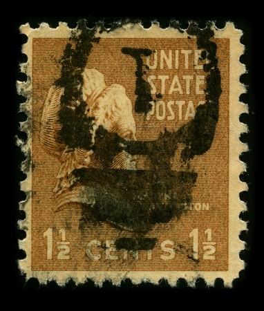 martha: USA - CIRCA 1930: A stamp printed in USA shows Portrait Martha Dandridge Custis Washington circa 1930.