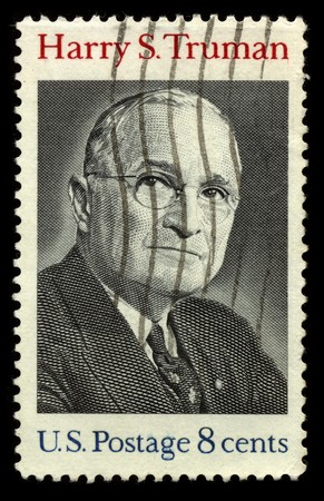 harry: USA - CIRCA 1930: A stamp printed in USA shows Portrait President Harry S. Truman circa 1930. Editorial
