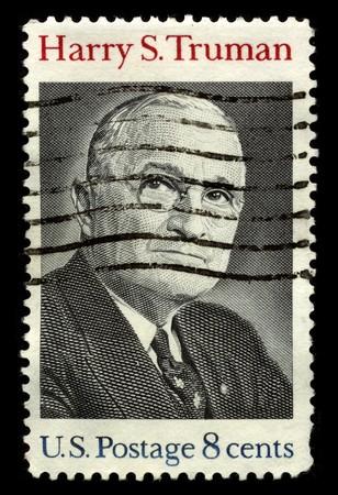 president???s: USA - CIRCA 1930: Un timbro stampato in USA mostra ritratto Presidente Harry s. Truman circa 1930. Editoriali