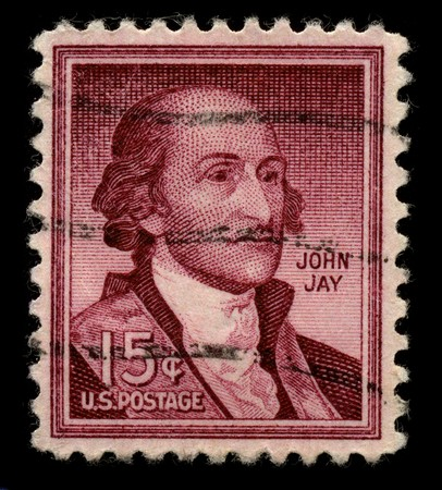 USA - CIRCA 1930: A stamp printed in USA shows Portrait John Jay circa 1930.